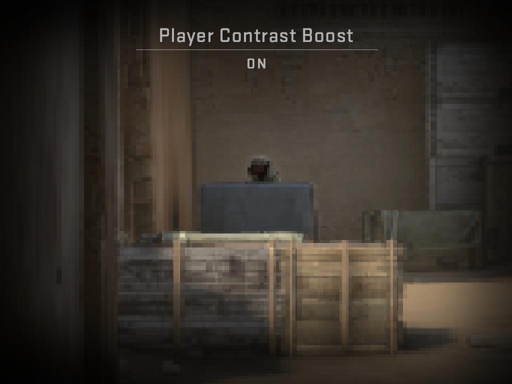 """Изображение, илюстриращо отчетливостта при включена опция за """"Подсилване на контраста за играчите"""""""