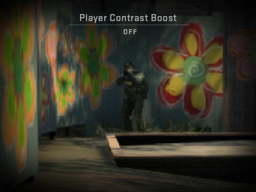 """Изображение, илюстриращо отчетливостта при изключена опция за """"Подсилване на контраста за играчите"""""""