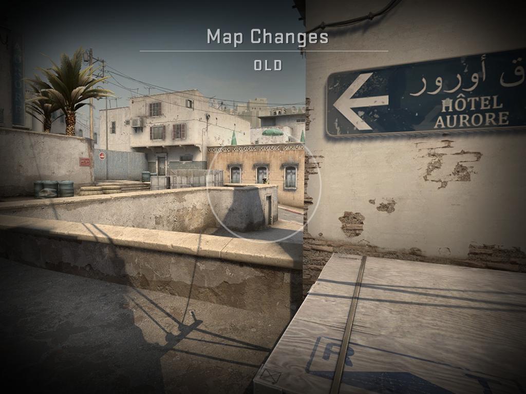 Изображение, показващо картата Dust2 преди промяната