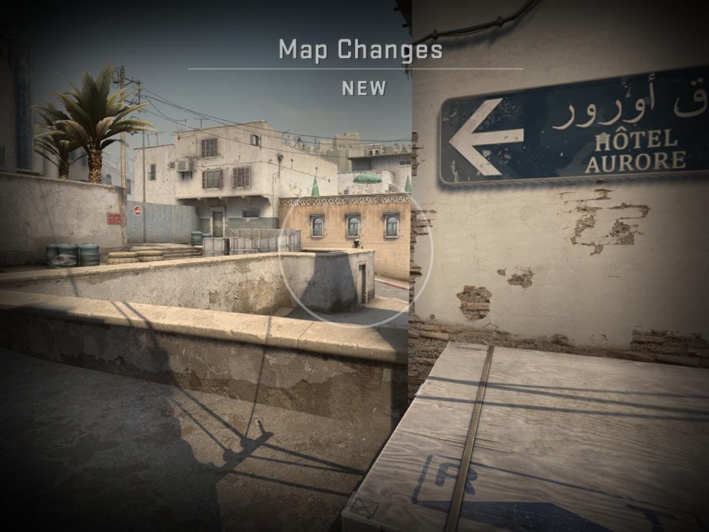 Изображение, показващо картата Dust2 след промяната