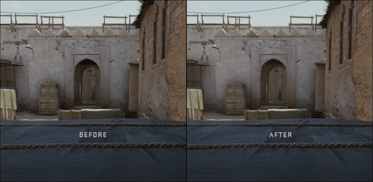 Демонстрация преди/след прилагането на новата опция за подсилване на контраста за играчите