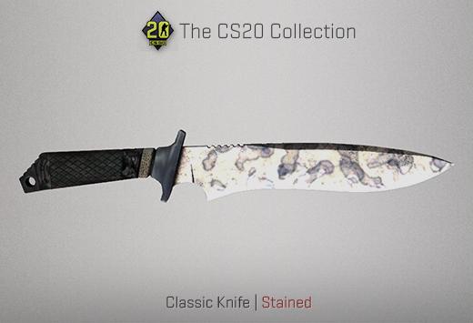 "Колекцията ""Counter-Strike 20"" — Класически нож | Опетнено | Stained"