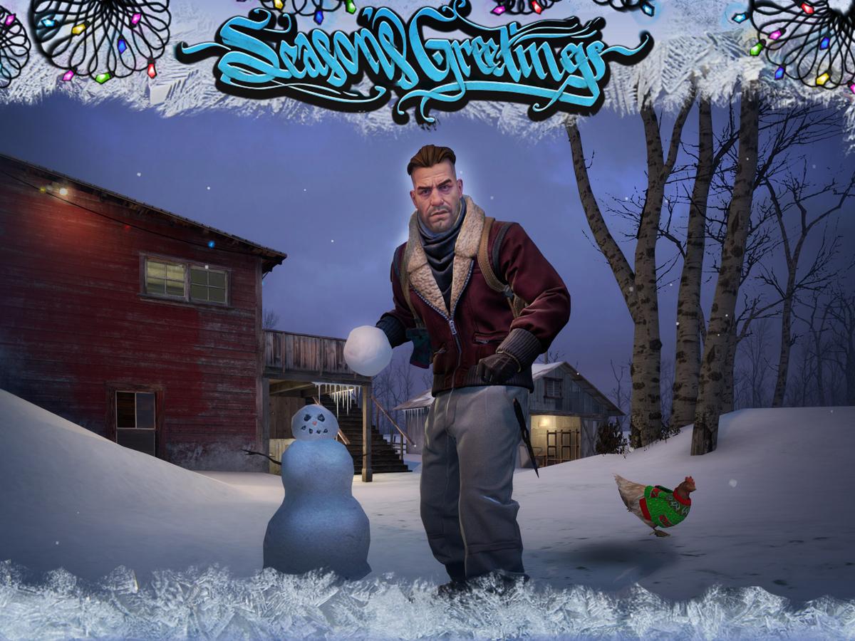 Зимен пейзаж със снежен човек, пиле с празничен пуловер и персонаж от новите агенти/терористи за персонализиране, готвещ се да хвърли снежна топка