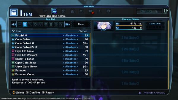 Death end re;Quest Healing Item Set (DLC)