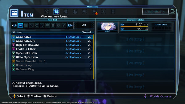 Death end re;Quest Extra Boss & Items (DLC)
