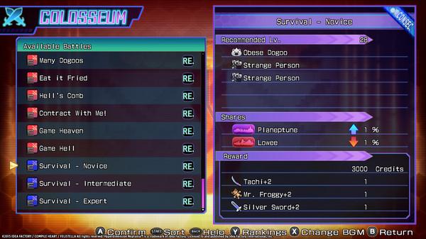 Hyperdimension Neptunia Re;Birth3 Survival Mode / サバイバルモード / 生存模式 (DLC)