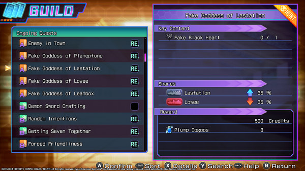 Hyperdimension Neptunia Re;Birth3 Shares Quests (DLC)