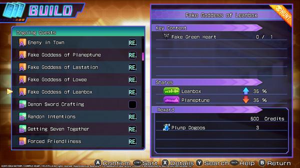 Hyperdimension Neptunia Re;Birth3 Shares Quests / シェアクエスト / 信奉心任務 (DLC)