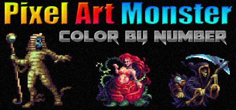 Pixel Art Monster - Color by Number