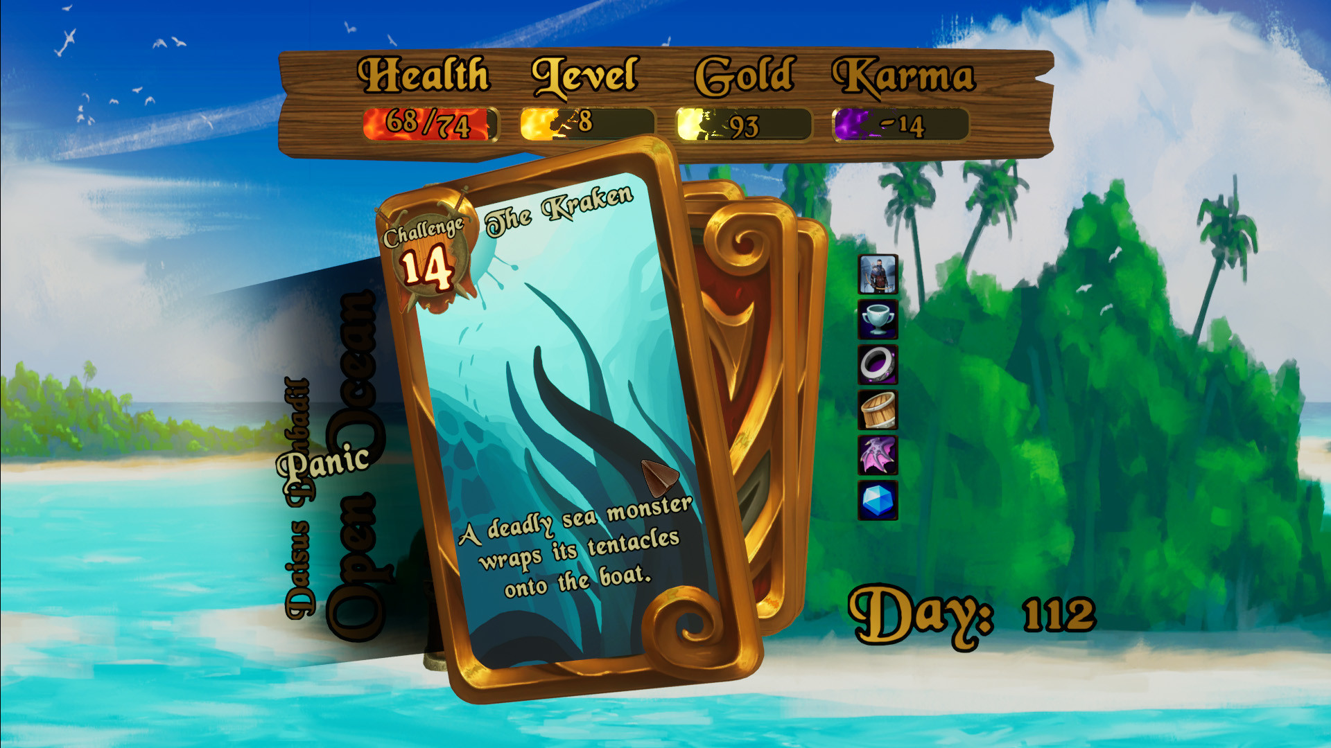 event card showing The Kraken attacking, with the player leaning towards the decision