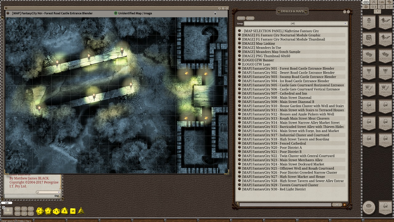 Fantasy Grounds - Meanders Map Pack: Fantasy City Nocturnal (Map Pack)