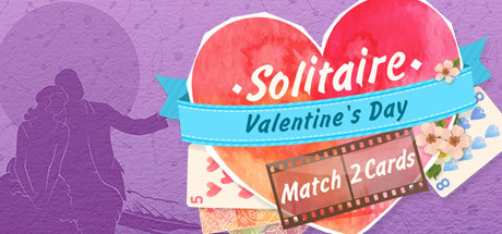 Solitaire Match 2 Cards. Valentine's Day