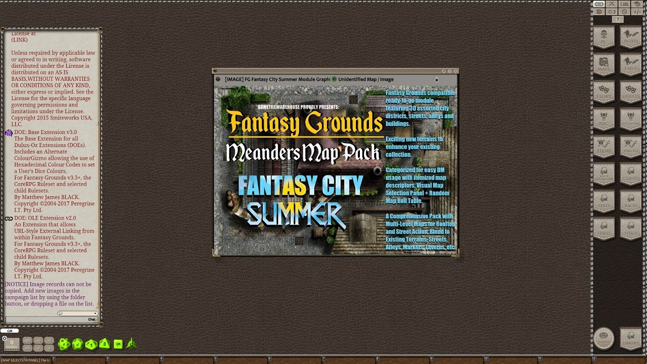 Fantasy Grounds - Meanders Map Pack Summer City (Map Pack)