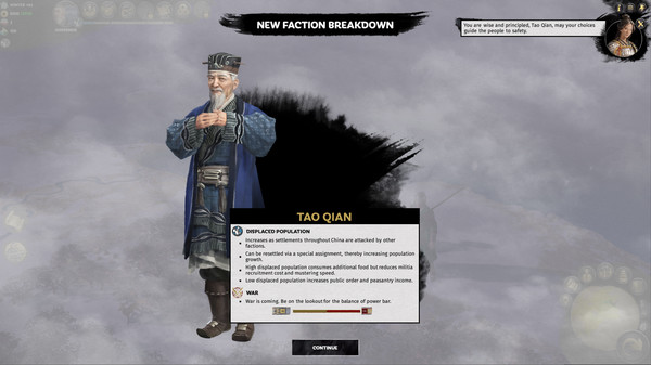 скриншот Total War: THREE KINGDOMS - Tao Qian 1