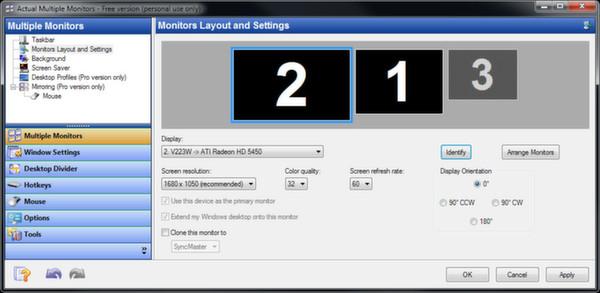Скриншот из Actual Multiple Monitors