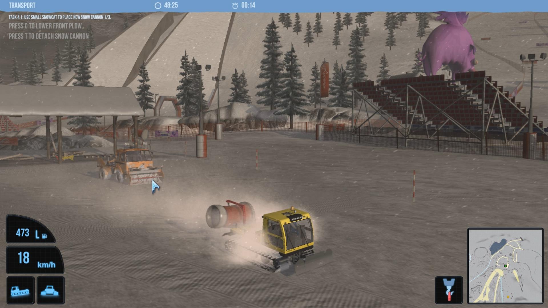 Snow groomer simulator