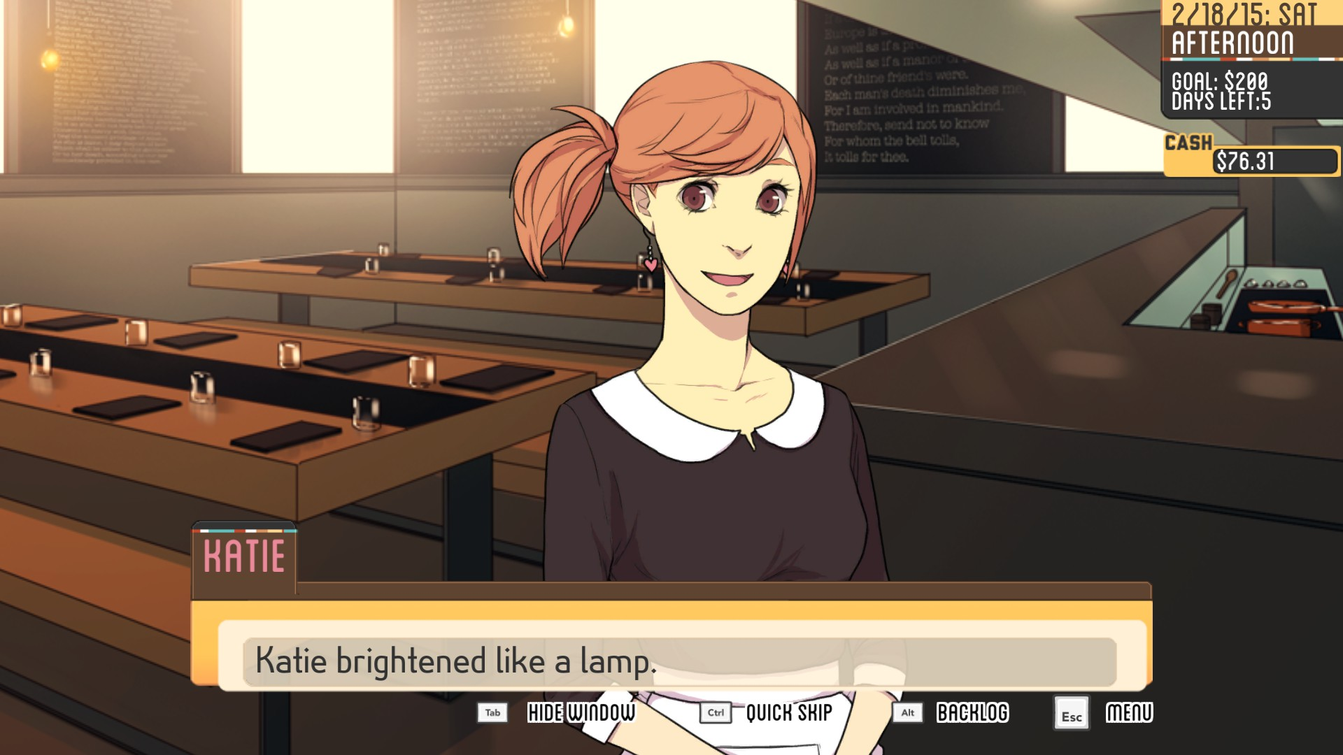 Katie from the kitchen dating simulators rpg