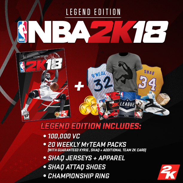 The NBA 2K18 Legend Edition includes the following digital items: