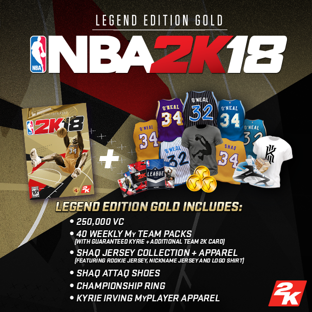 The NBA 2K18 Legend Edition Gold includes the following digital items: