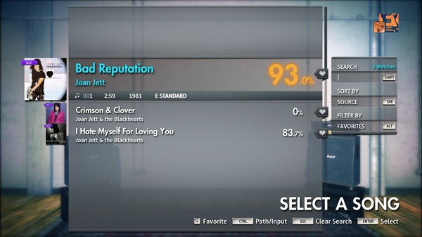 "Скриншот №1 к Rocksmith® 2014 Edition – Remastered – Joan Jett - ""Bad Reputation"""