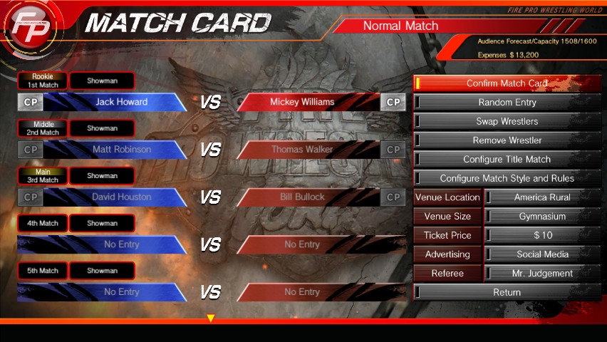 fire pro wrestling world fire promoter mode