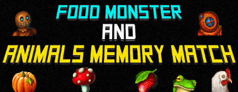 Food Monster and Animals Memory Match
