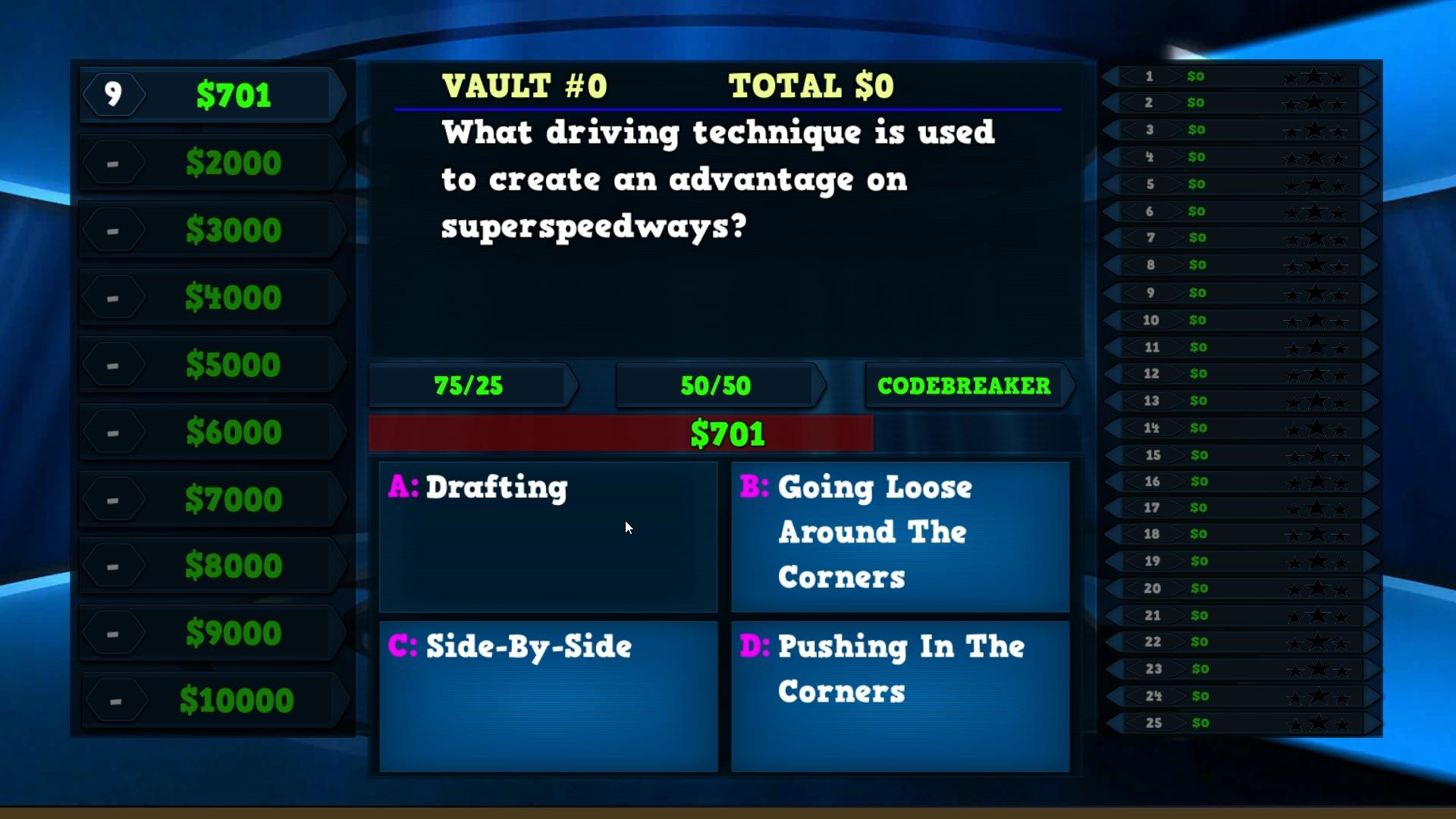 auto racing trivia game