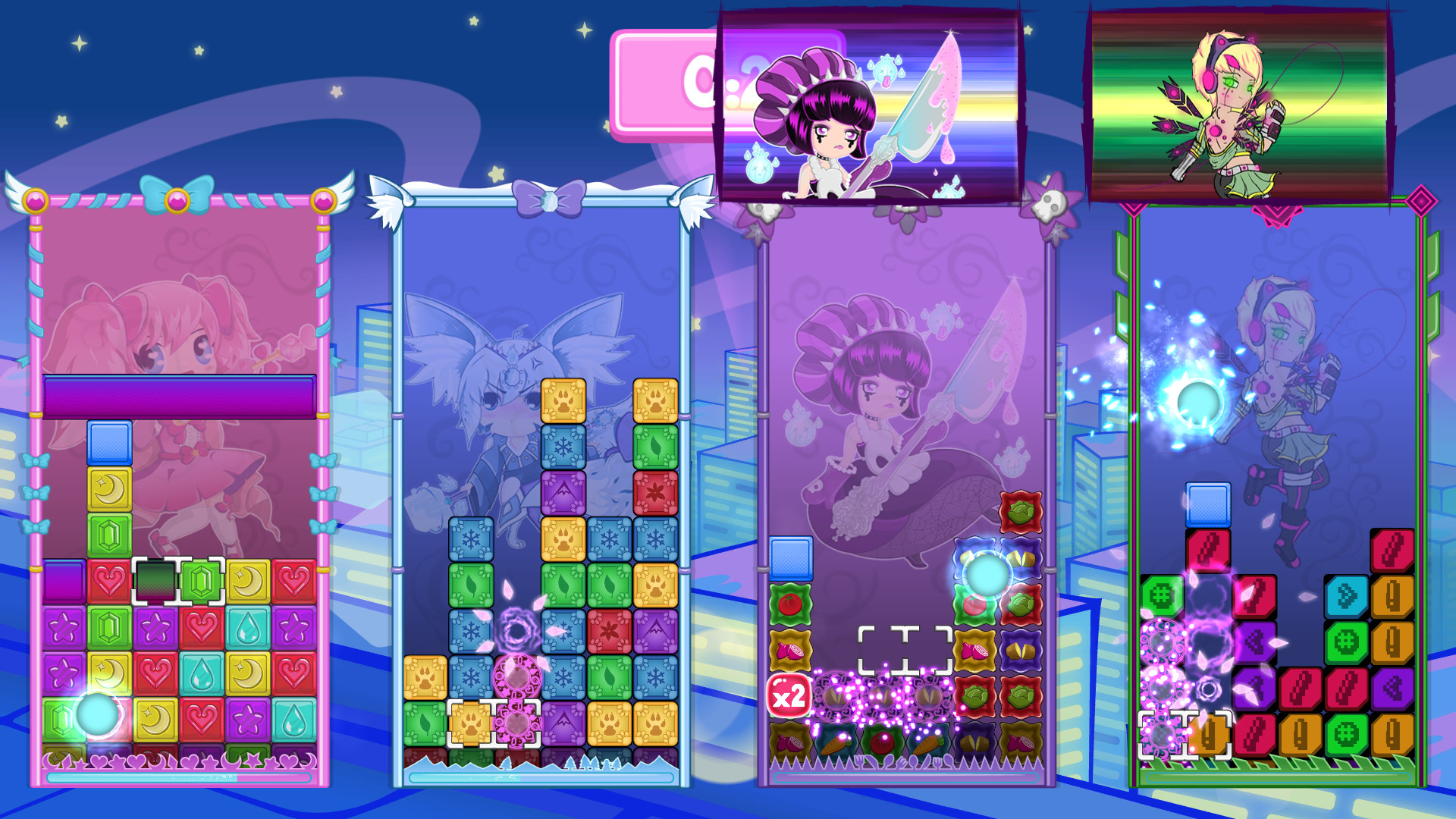 four boards filled with puzzle blocks during a 4-player match
