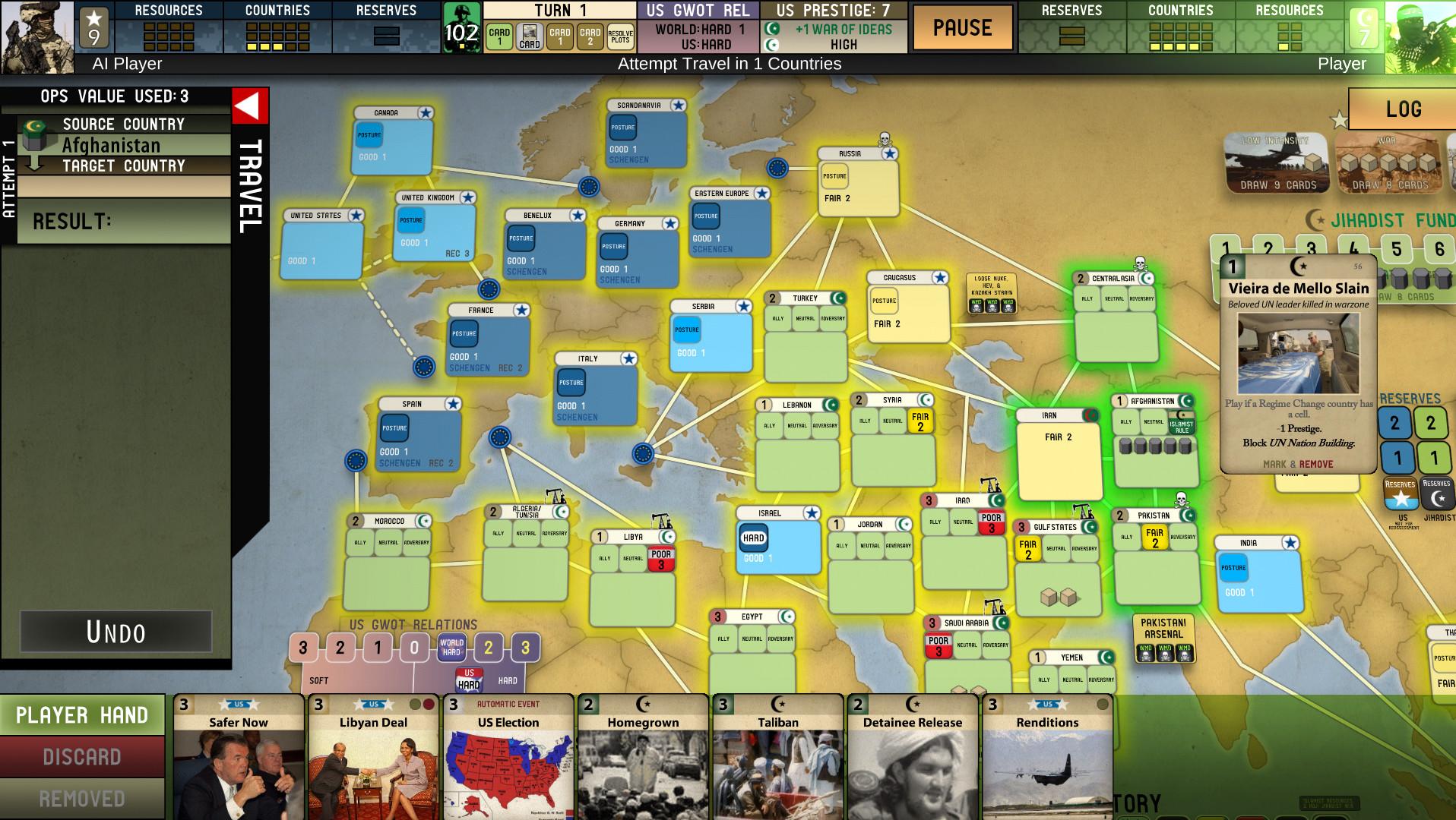 The War on Terror Brettspiel GMT Games Labyrinth deutsch