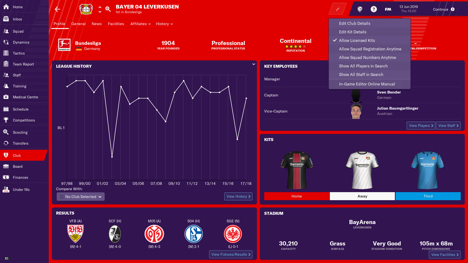 Football Manager 2019 In Game Editor