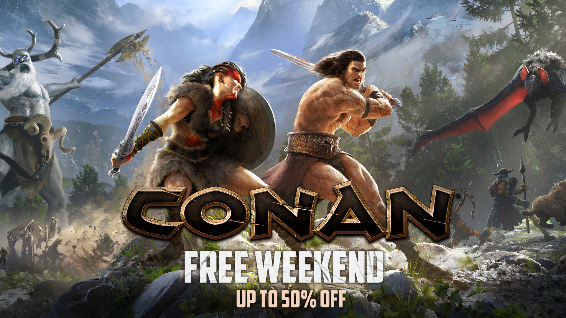PC Games: [STEAM] Weekend Deal: Conan Weekend – Conan Exiles (50% off – $19.99), Conan Exiles Deluxe Edition (50% off – $34.99), Conan Unconquered (30% off – $13.99) – free weekend