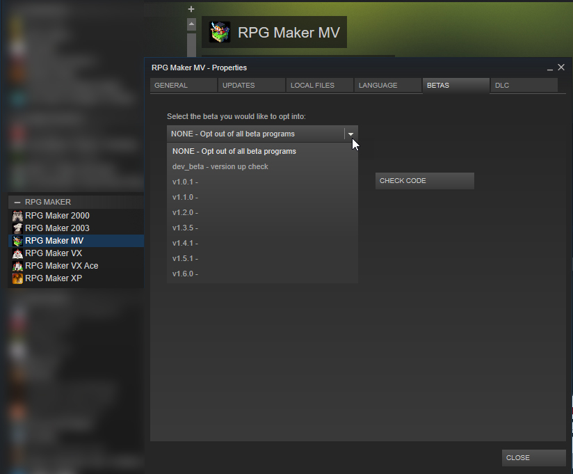 Rpg maker mv on steam if rpg maker mv 161 is not working for you you can downgrade anytime through the betas tab in properties gumiabroncs Gallery