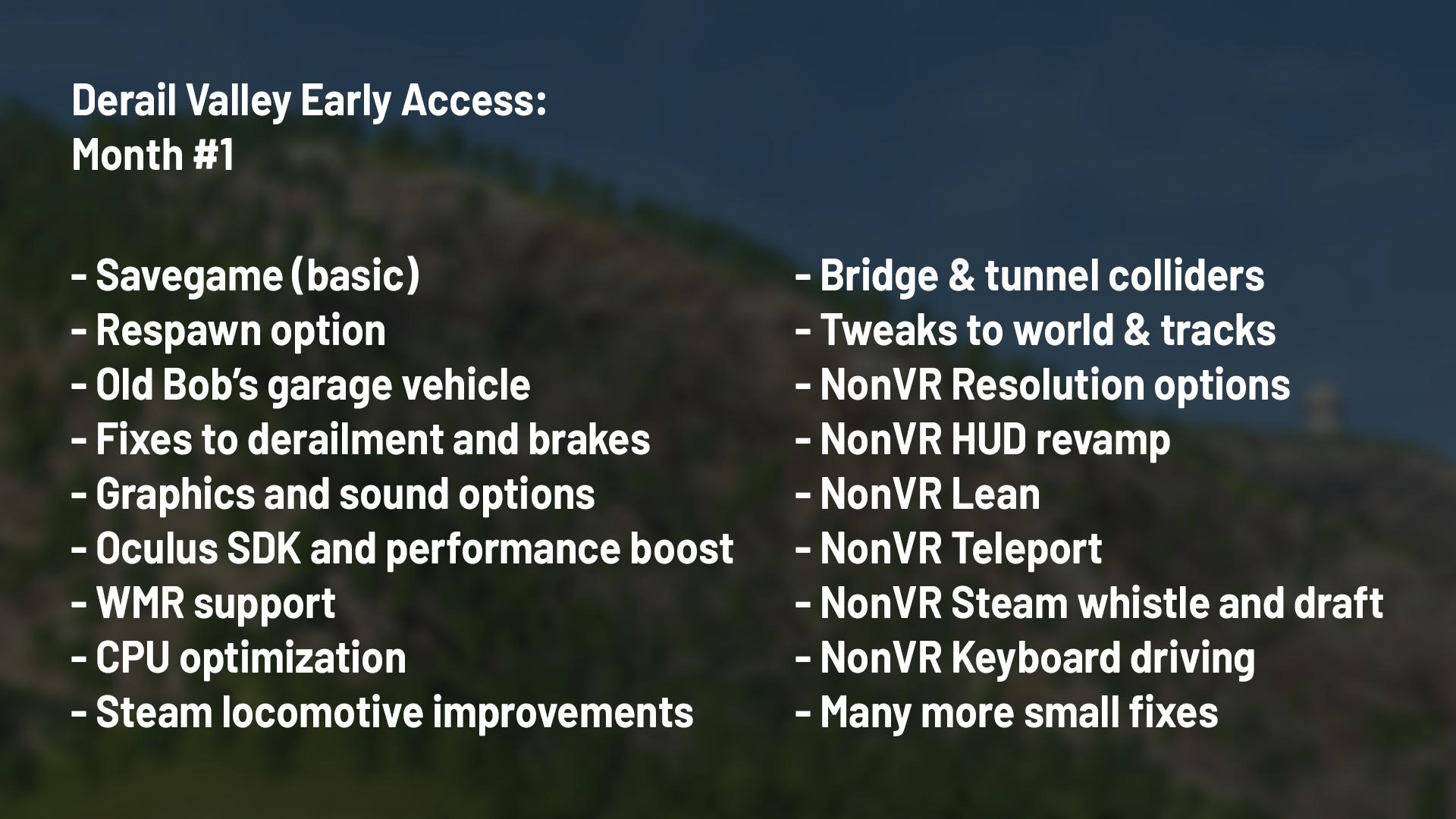 Derail Valley :: Month #1 - Launch summary, Team expansion, Modding/co-op reward goals