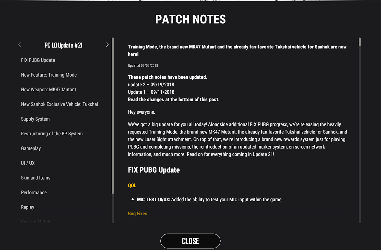 Lobby Patch Notes