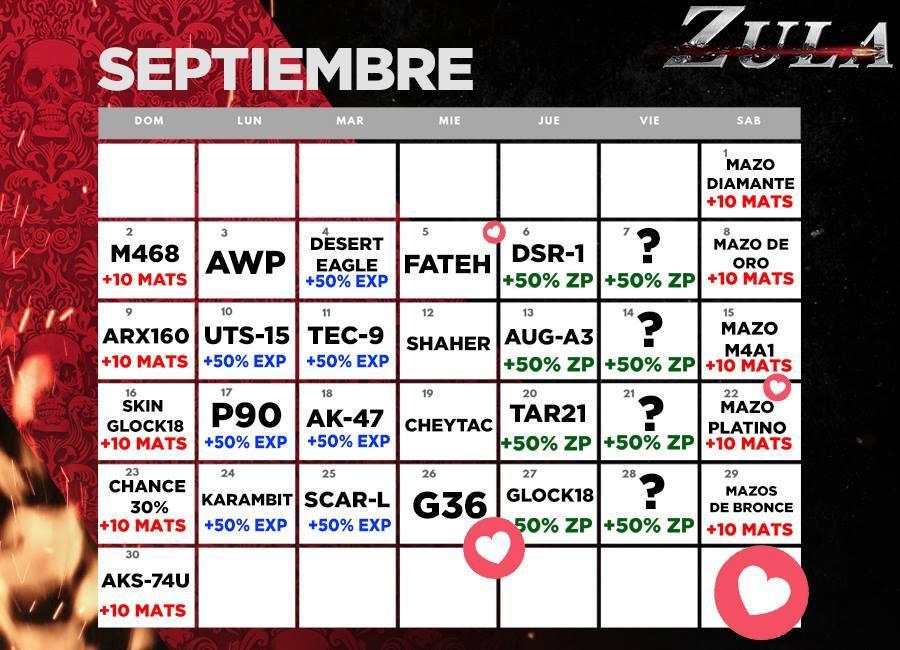 Calendario De Septiembre.Zula Latino America Calendario De Septiembre