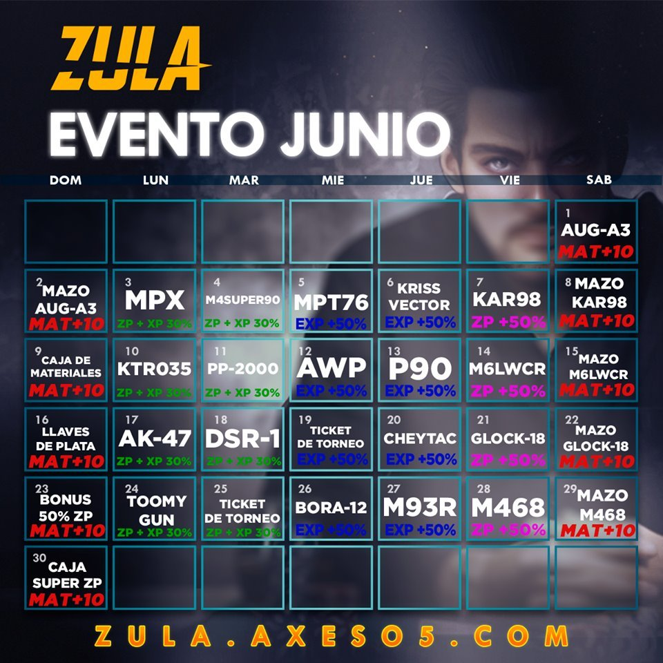 Calendario De Junio.Zula Latino America Calendario De Eventos Junio 19