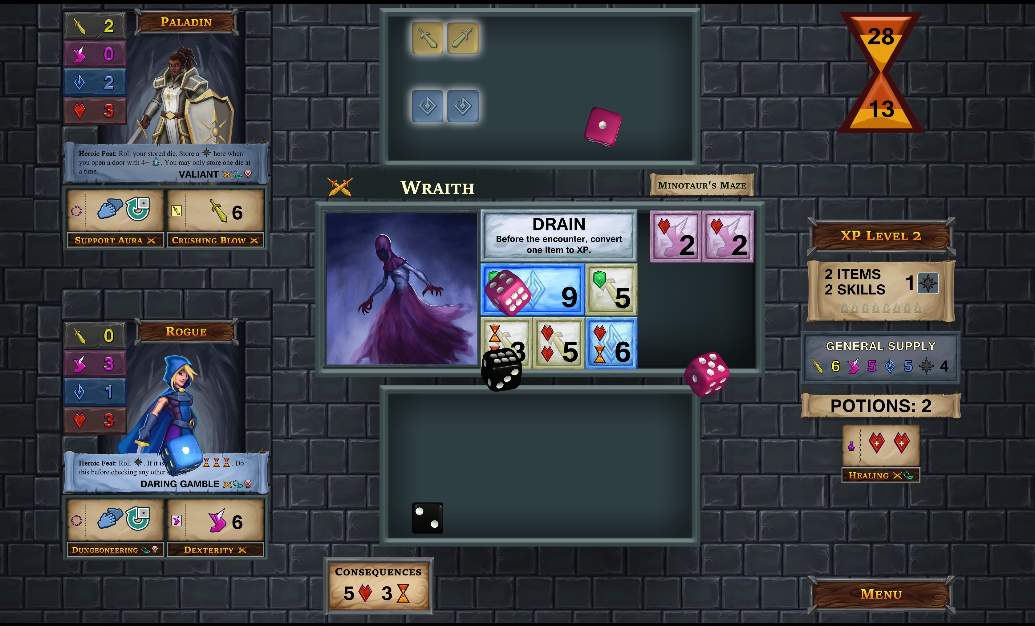 One Deck Dungeon Early Access Update 1 Two Hero Mode