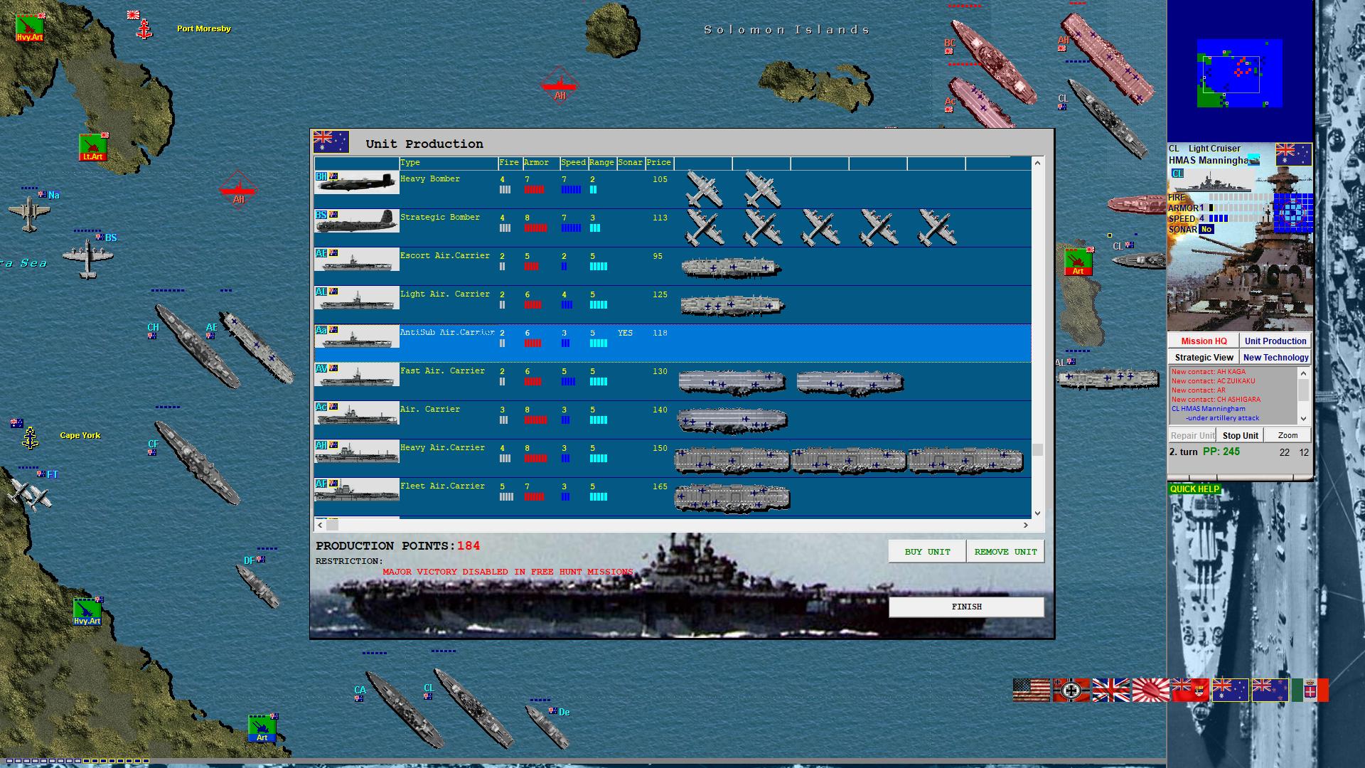 Battleships and Carriers - WW2 Battleship Game :: New version 1 23