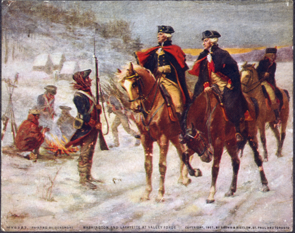 Old Painting of George Washington at Valley Forge