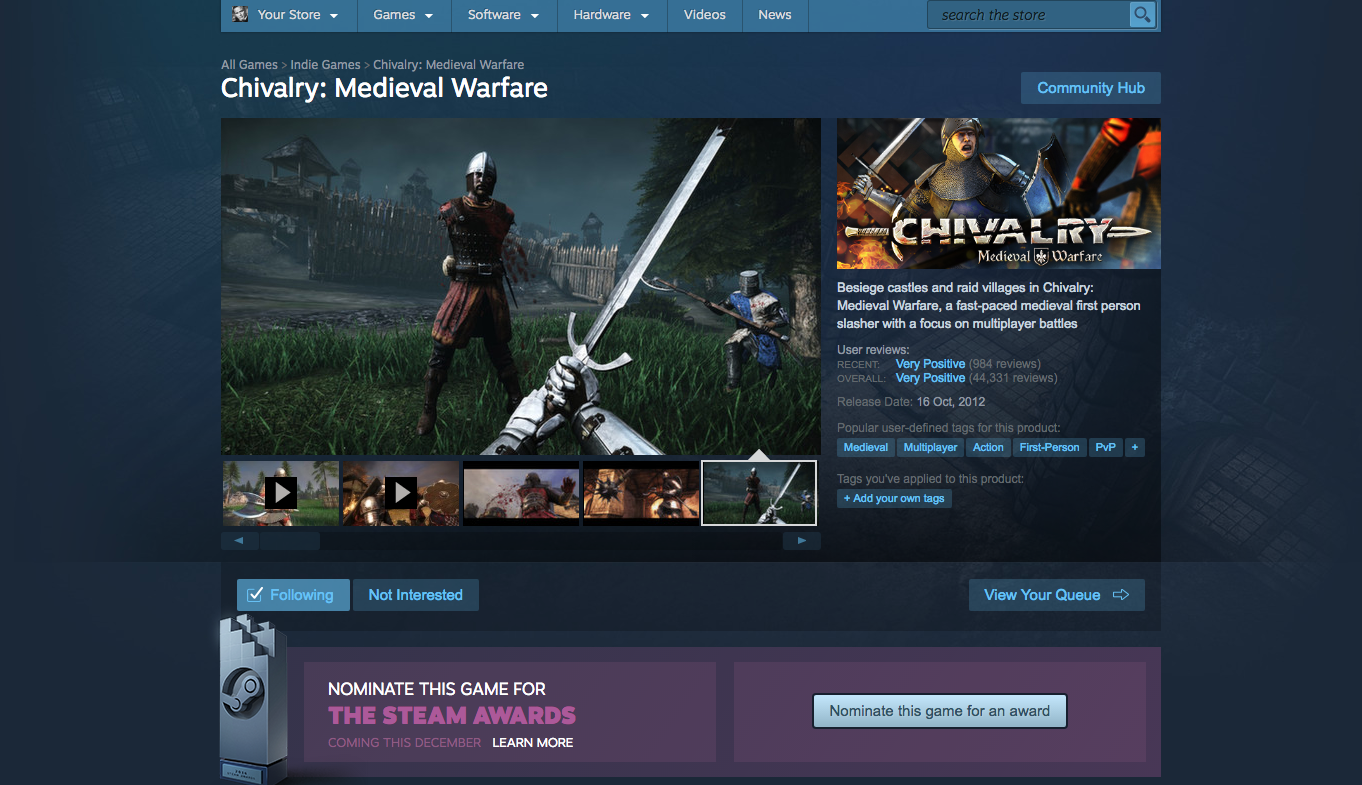 "Chivalry: Medieval Warfare :: Nominate Chivalry for ""The"