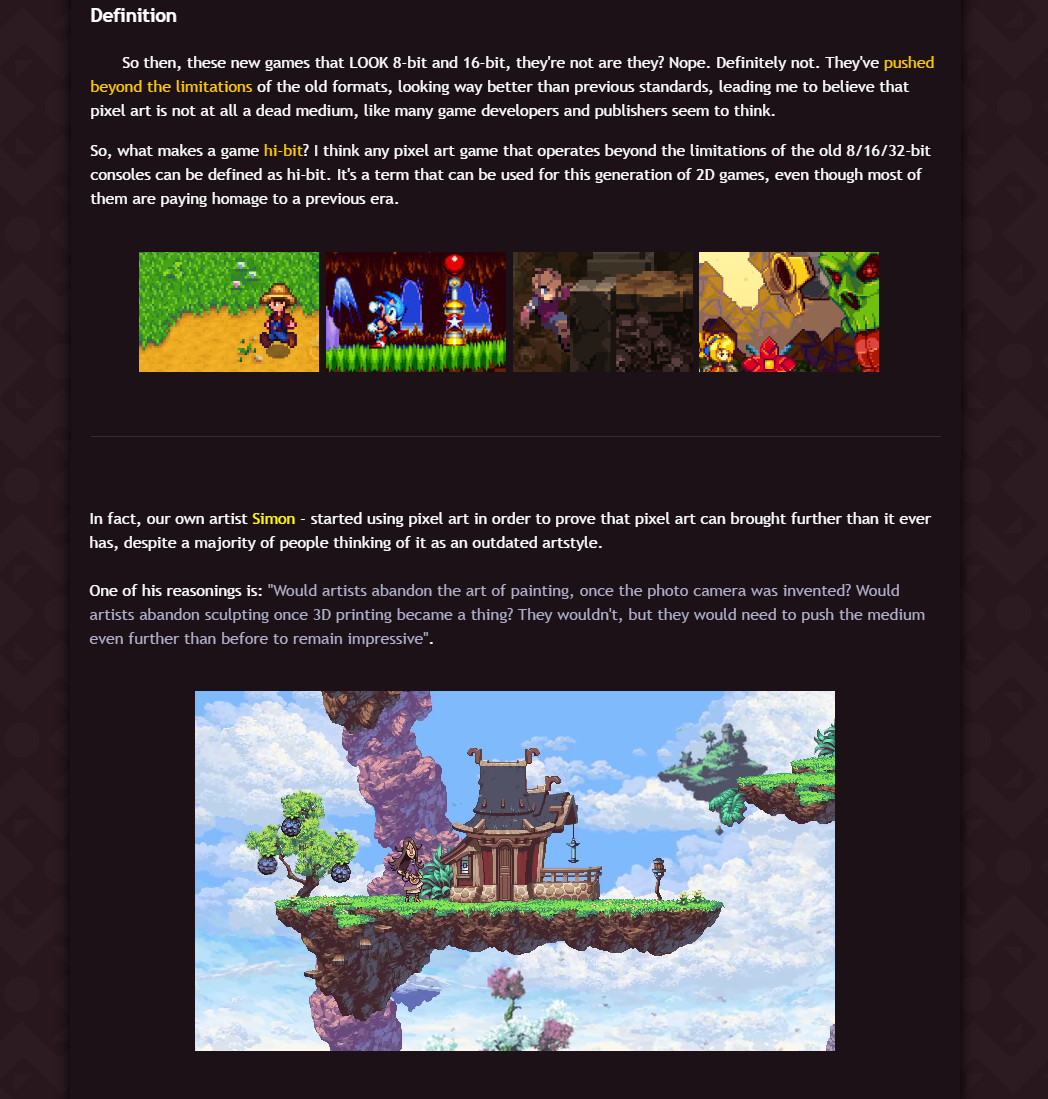 Owlboy :: Blog Post - What's Hi-Bit pixel art?