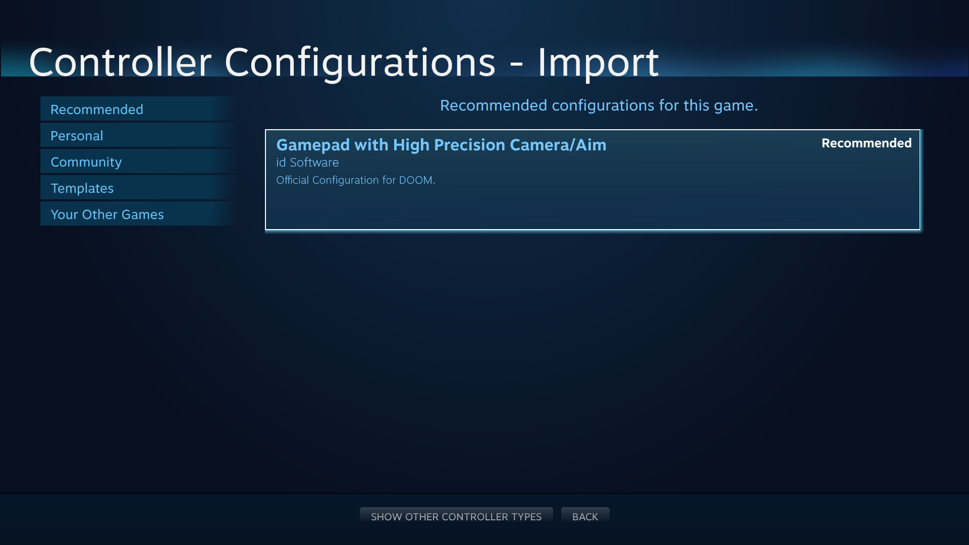 Browsing Configurations (Steamworks Documentation)