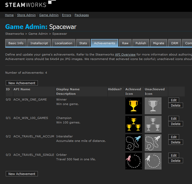 Step by Step: Achievements (Steamworks Documentation)