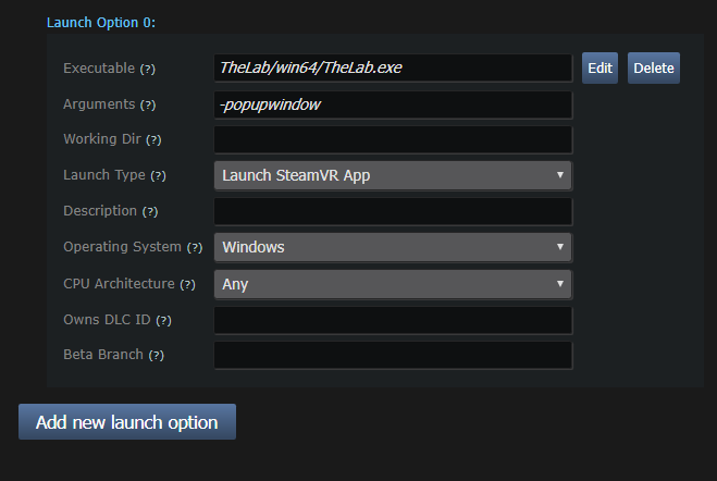 Application Settings for Virtual Reality (Steamworks Documentation)