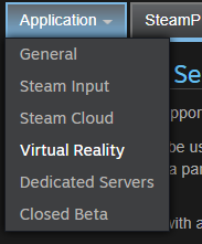 Application Settings for Virtual Reality (Steamworks