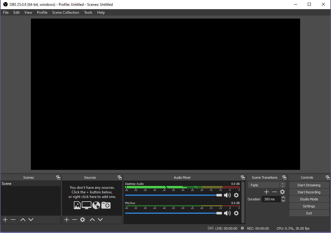Capture d'écran d'OBS