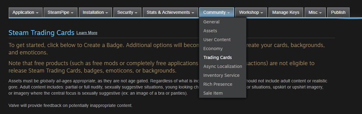 Steam Trading Cards (Steamworks Documentation)